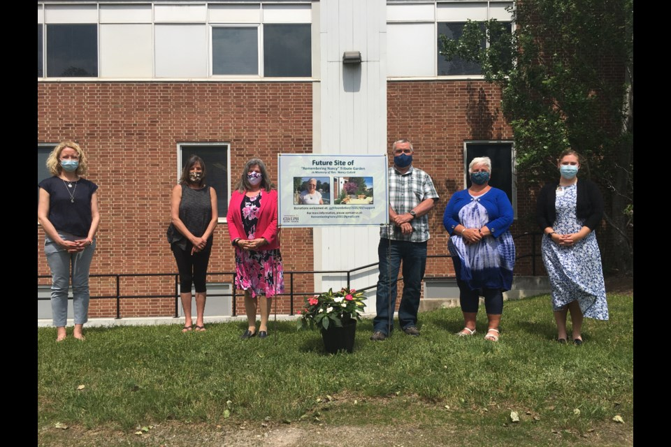 Members and supporters of the Remembering Nancy Community Project. Suzanne Bone, from left, Mairin Viol, Coreen Croteau, Ken Gray, Alex Madott and Tricia Gray. Ariel Deutschmann/GuelphToday